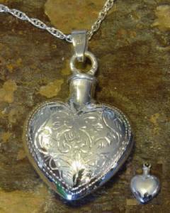 Etched Heart Keepsake Cremation Urn