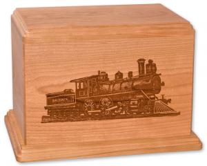 Train on Cherry Wood Cremation Urn