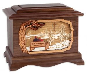Soul Mates Lake and Cross Wood Companion Cremation Urn