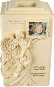 Personalized Angels Near Cremation Urn with Photo