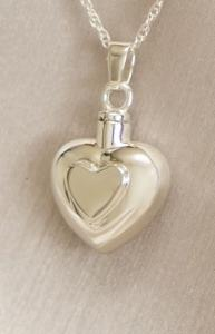 Silver Double Heart Keepsake Cremation Urn