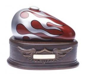 Red Born to Ride Motorcycle Cremation Urn