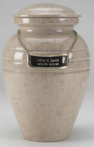 A Beautiful Creamwash Marble Cremation Urn
