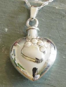 Paw Print Heart Pet Cremation Urn Necklace