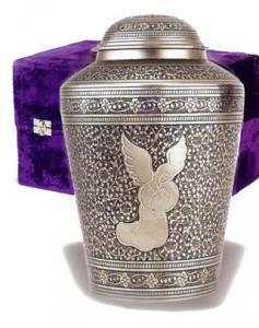 Angel on Etched Brass Cremation Urn