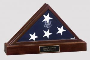Presidential Pedestal Cremation Urn and Hinged Flag Case