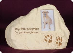 Dog Paw Prints Rock Keepsake Cremation Urn