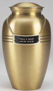 Classic Brushed Brass Cremation Urn and Case
